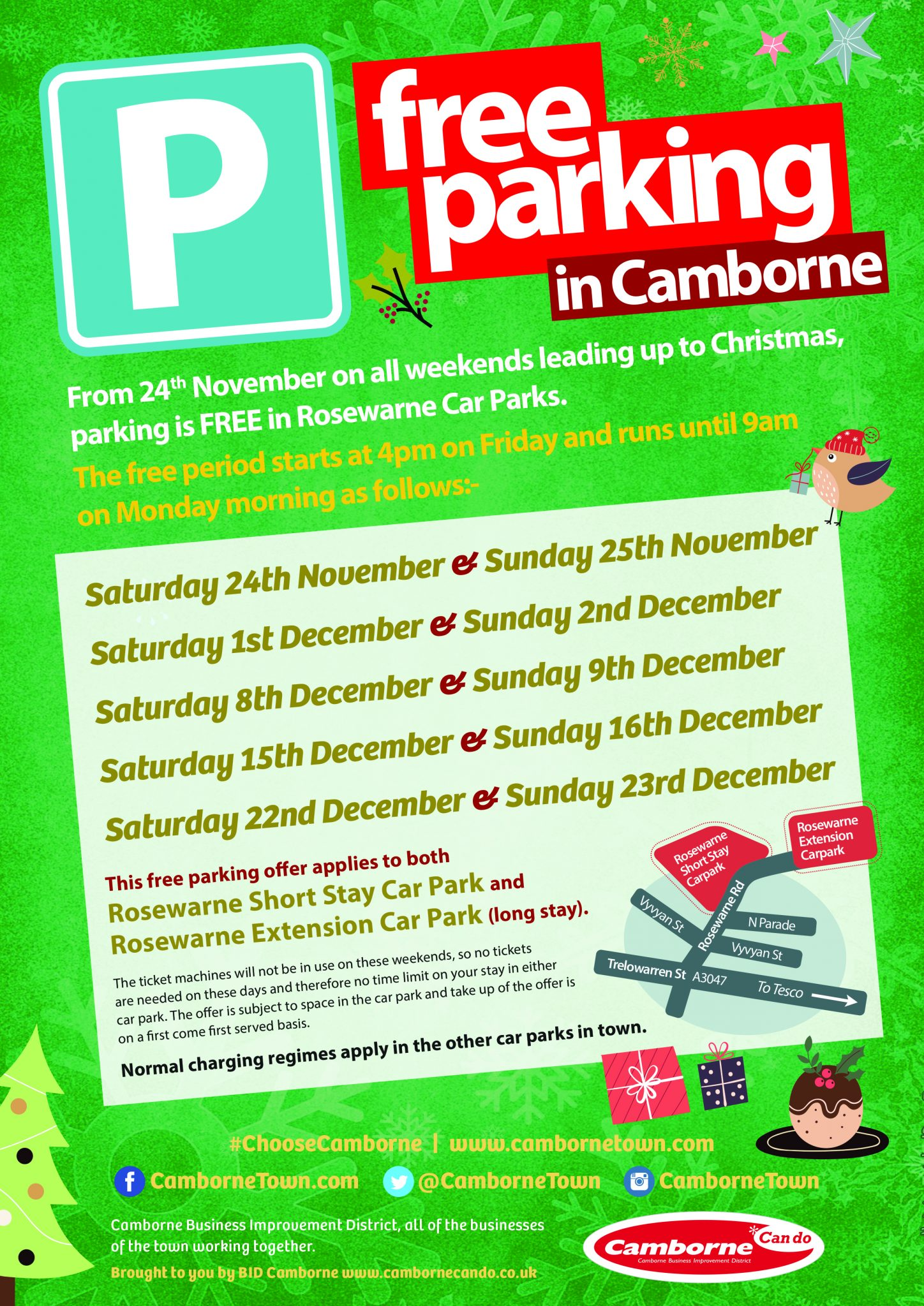 Free Parking in Camborne, Cornwall
